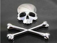 Chrome 3D Crossbones Skull Metal Logo Emblem Badge Decal Tank Sticker Motorcycle