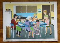 carte d'école - affiche scolaire 1960 - la cuisine et la salle de bain