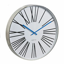 Invotis Large 50cm Chrome Case Wall Clock Roman Numerals Blue Hands Modern Style