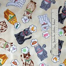 """Animal Fabric - Cat Thoughts Food Toys Cream - Timeless Treasures Cotton 35"""""""
