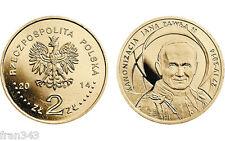 POLAND POLONIA 2 ZLOTY 2014 JUAN PABLO CANONIZATION  POPE JOHN  - UNC