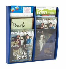 Blue Wall Mounted Brochure Display / Leaflet Holder / Rack with 6 x A4 Pockets