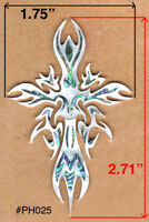 PH40# Tribal Cross Inlay Headstock Abalone & White Mother of Pearl 1.5mm thickne