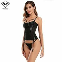 Corset Sexy Lace Overbust Bustier Women Black Corsets Push Up Gothic Leather
