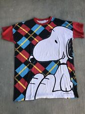 Vintage Snoopy Peanuts All Over Print Plaid T Shirt 1990s Flirts Over Size XXL