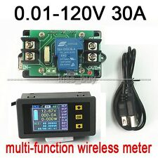 120V 0-30A  DC Wireless Voltmeter Ammeter Power Meter Charge discharge capacity