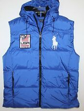 Polo Ralph Lauren Mens Royal Blue Big Pony Down Hoodie Jacket Vest NWT $245 M