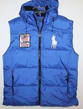 Polo Ralph Lauren Mens Royal Blue Big Pony Down Hoodie Jacket Vest NWT $245 L