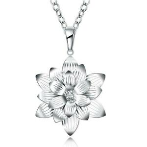 """925 Sterling Silver Flower Crystal Necklace Pendant on 18"""" Chain UK Seller"""