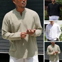 Mens Vintage Linen Long Sleeve Casual T Shirt Ethnic Shirt Kaftan Tunic Tops Tee