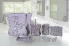 6 Piece Decorative Bathroom Accessory set Made of Ceramic (Paris Purple)
