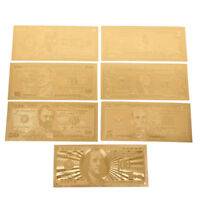 Hot 1 Set 7 Pcs Gold Plated USD Paper Money Banknotes Crafts For Collection DR