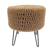 Bergen Luxury 100% Chunky Knitted Cotton Round Pouffe Footstool With Metal Legs