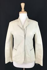 JIL SANDER Soft Ivory Leather Moto Jacket Lightweight Unlined Zip Up 36 S ITALY