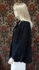 "Vintage Black Broadtail Persian Lamb Swing Coat Jacket 27"" Long Thorpe Furs"