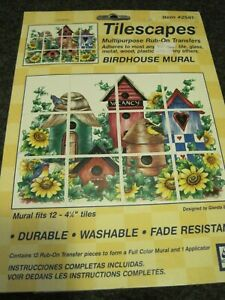 TILESCAPES Multipurpose Rub-on Transfers BIRDHOUSE MURAL 2581 Glenda Betz SEALED