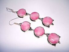 """AB Pretty in Pink Opal Agate Earrings Silver Hook Dangle 3.5"""" Round-Cut Faceted"""