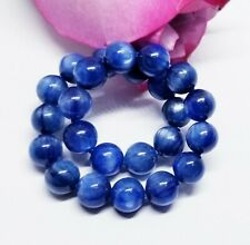 """STUNNING ROYAL BLUE KYANITE ROUND BEADS STRETCH BRACELET 8mm 7.5"""" AAA++++ 128cts"""