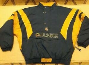 Vintage St. Louis Rams Pro Line Starter Jacket NFL Half Zip Size XXL No Hood