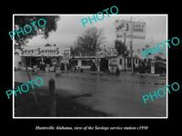OLD POSTCARD SIZE PHOTO OF HUNTSVILLE ALABAMA THE SAVINGS SERVICE STATION 1950
