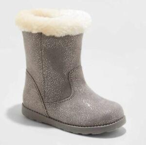 Toddler Girls' Karley Faux Fur Shearling Boots Gray - Cat & Jack - CHOOSE SIZE