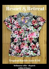 Tropical Print Womens Rashie, Size 14, UPF 50+, Beach Wear, Swimwear