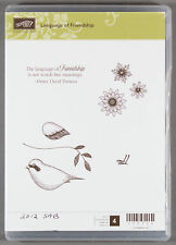 Stampin Up LANGUAGE OF FRIENDSHIP Clear Mount Rubber Stamp Set - Bird & Flowers