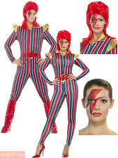Adults Space Superstar Costume Mens Ladies 1980s Pop Star Fancy Dress Outfit