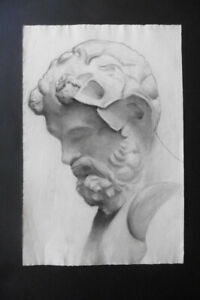 FRENCH SCHOOL 19thc - STUDY CLASSICAL FIGURE - A FAUN - FINE CHARCOAL DRAWING