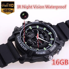 HOTSELL Waterproof Watch Spy Hidden Camera DVR HD Cam IR Night Vision 16GB 1080P