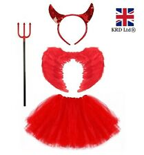 RED DEVIL TUTU COSTUME Feather Girls Halloween Fancy Dress Outfit Party Lot UK