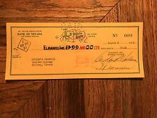 El Rancho Vegas Canceled Check To Miller's Products Signed Ink Mert Wilbur 1952