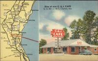 Claxton GA C&J Caf' & MAP Linen Postcard
