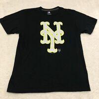 New York Mets Shirt Adult Large Black Mens MLB Cotton
