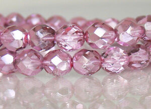 8mm Fire Polished Czech Glass Beads 20 Faceted UR PICK