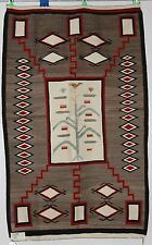 Early Navajo rug, blanket Native textile, weaving tree of life pictorial 1930's