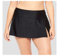 Ava & Viv Black Slit Swimsuit Skirted Bottom Swim Skirt Skirtini Plus 20W/22W