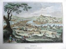 LYON  FRANCE COPPER ENGRAVING WITH HAND COLOUR  GENUINE ANTIQUE c1784