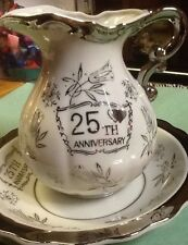 25TH ANNIVERSARY BOWL & PITCHER  STERLING TRIMMED PORCELAIN  SET Very Nice