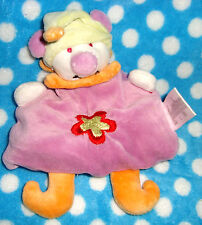 AUCHAN Doudou OURS LUTIN CLOWN  semi plat violet bonnet orange TBE