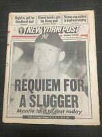 Mickey Mantle Death - Yankees - Baseball - 1995 New York Post Newspaper