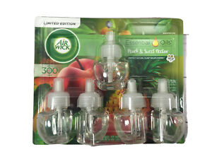 Air Wick Peach & Sweet Nectar Essential Oils Scented 5 Refill Pack NEW