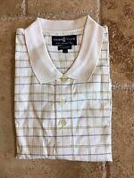New NWT Izod Club L Mens White/Black,Yellow Striped  Polo Style Golf Shirt