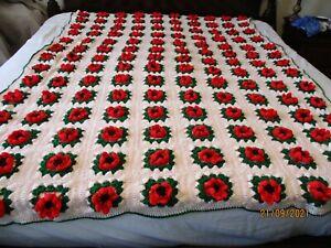 Vintage Handmade Crochet 3D Pink Rose Afghan Blanket 63x87 Granny Square