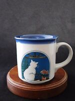 Otagiri OMC Cat on the Window Fine Stoneware Blue Inside Mug Made in Japan