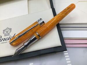 Pineider Italy Avatar Saffron Yellow Fountain Pen M Nib Silver + Gift Box $248