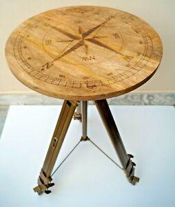 Nautical Compass Directional Designer Logo Engraved Tripod Coffee Bar Cafe Table