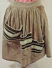 Half Apron Homemade/Handmade 3 baggy pockets Vintage Brown and White Check