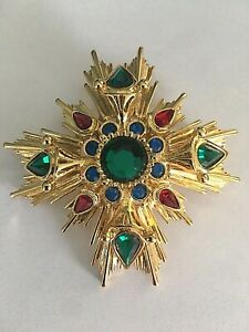 "Joan Rivers Faux Emeralds Rubies Sapphires Maltese Cross Brooch Pin ~ 2.5"""