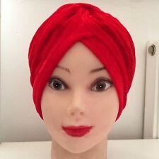 VELVET NEW HEAD WRAP INDIAN STYLE TURBAN HAT SOFT VELVET RED